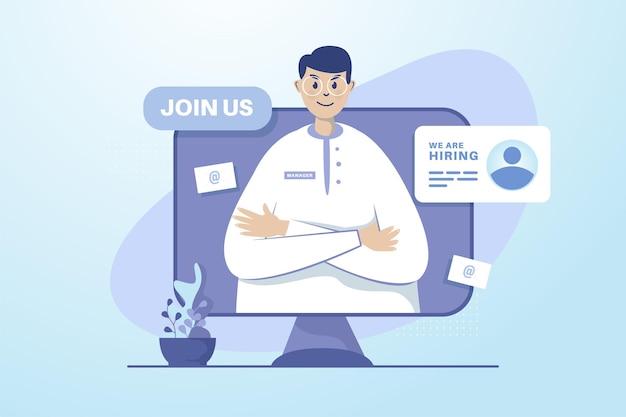 Concepto de ilustración de anuncio de reclutamiento abierto en línea