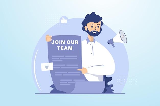 Concepto de ilustración de anuncio de reclutamiento abierto