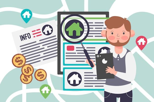 Concepto de ilustración de asistencia inmobiliaria