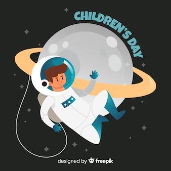 Concepto de ilustración con astronauta para el día del niño