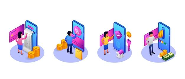Concepto de ilustración de banca de fondo de dinero y teléfono isométrico 3d con personas hombre y mujer con tarjeta, pago, factura,