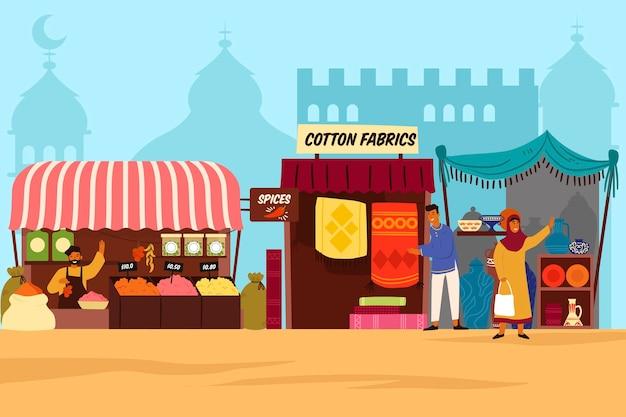 Concepto de ilustración de bazar árabe