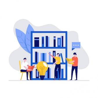 Concepto de ilustración de biblioteca de libros clásicos con personajes y estantería.