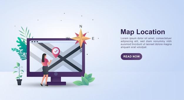Concepto de ilustración de buscar una ubicación en el mapa con la dirección cardinal.
