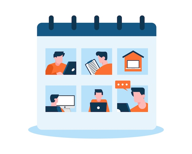 Concepto de ilustración de calendario de horario de trabajo