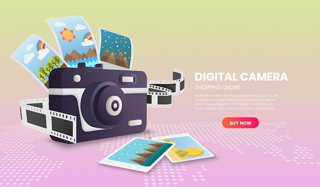 Concepto de ilustración de cámara digital vector de aplicación 3d.