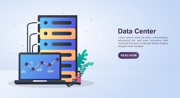 Concepto de ilustración de centro de datos con almacenamiento de datos grandes y computadora portátil.