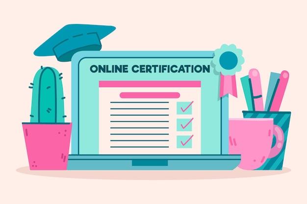 Concepto de ilustración de certificación en línea