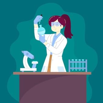Concepto de ilustración científico femenino