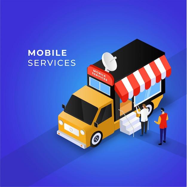Concepto de ilustración de coche de servicios móviles