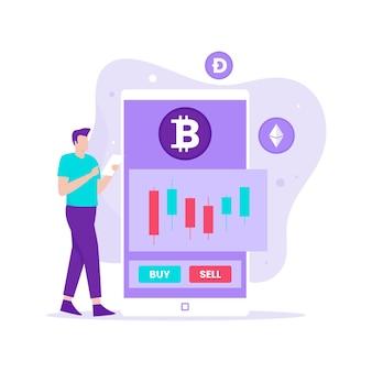 Concepto de ilustración de comercio de divisas crypto. ilustración para sitios web, páginas de destino, aplicaciones móviles, carteles y pancartas.