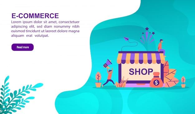 Concepto de ilustración de comercio electrónico con carácter. plantilla de página de aterrizaje