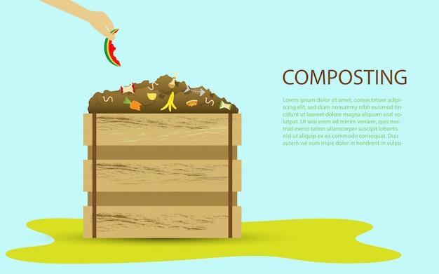 Concepto de ilustración de compostaje