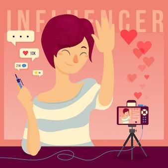 Concepto de ilustración de concepto de influenciador