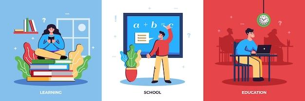 Concepto de ilustración de conjunto de educación