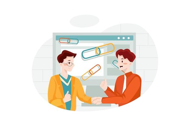 Concepto de ilustración de construcción de enlaces de calidad