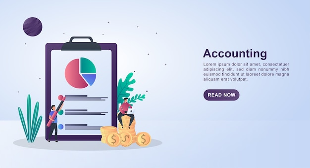 Concepto de ilustración de contabilidad con una persona sentada en una moneda sosteniendo una pluma.