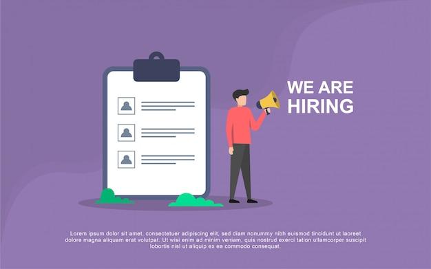 Concepto de ilustración de contratación de trabajo con carácter de personas