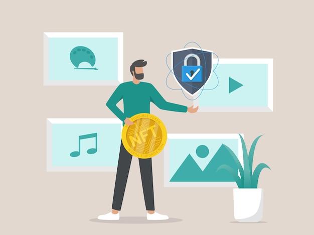 Concepto de ilustración de conversión de obras de arte en tokens ntf digitales