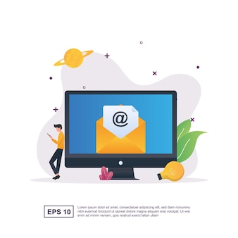Concepto de ilustración de correo electrónico con personas sentadas mientras revisan el correo electrónico en un teléfono inteligente.