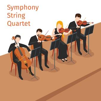 Concepto de ilustración de cuarteto de cuerda de orquesta sinfónica. instrumento musical, juego de violín