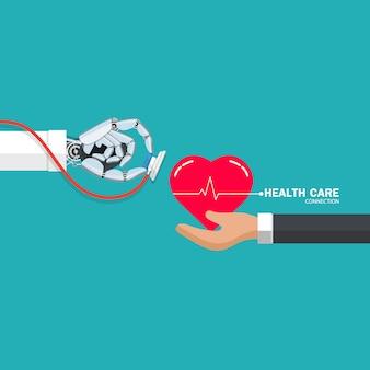 Concepto de ilustración de cuidado de la salud con mano robótica