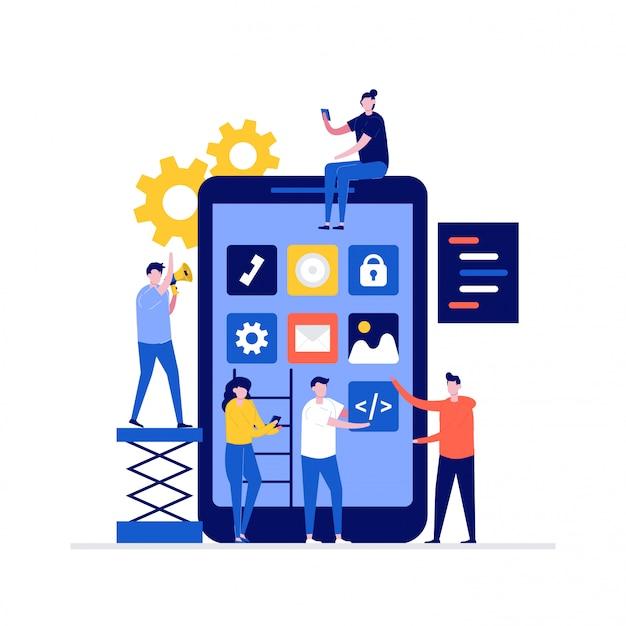 Concepto de ilustración de desarrollo de aplicaciones móviles con personajes, teléfono inteligente, codificación de programas.