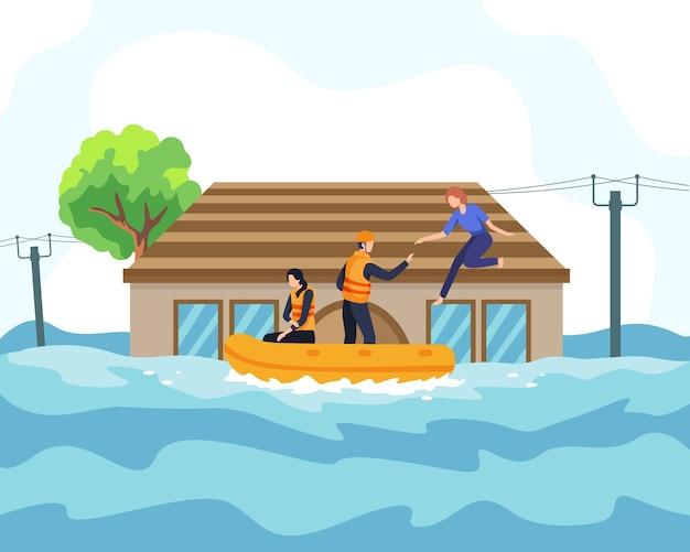 Concepto de ilustración de desastre de inundación. el rescatista ayudó a las personas en bote desde la casa que se hundía y a través de un camino inundado. gente salvada de un área o ciudad inundada, concepto de desastre natural. en un estilo plano
