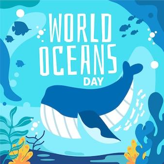 Concepto de ilustración del día mundial de los océanos