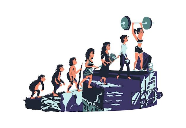 Concepto de ilustración de dibujos animados de línea de tiempo de evolución de mujer