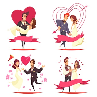 Concepto de ilustración de dibujos animados de recién casados