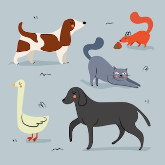 Concepto de ilustración de diferentes mascotas