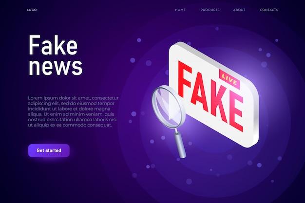 Concepto de ilustración de difusión de noticias falsas, burbuja de texto isométrico con palabra falsa.