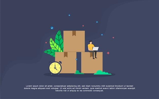 Concepto de ilustración de distribución con carácter de personas