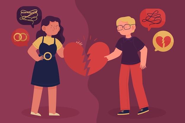 Concepto de ilustración de divorcio