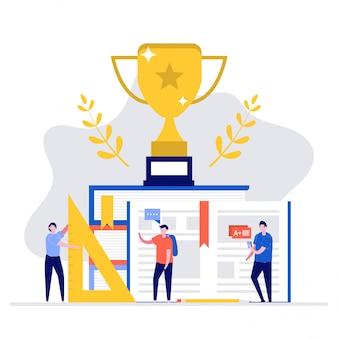 Concepto de ilustración de educación y éxito con trofeo y personajes.