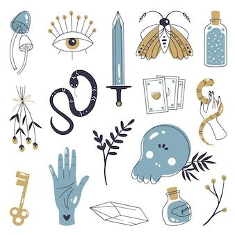 Concepto de ilustración de elementos esotéricos