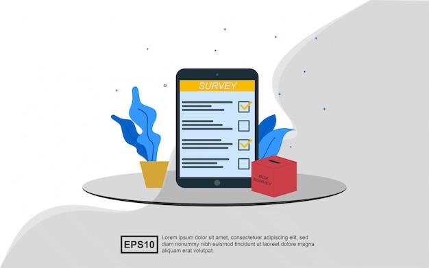 Concepto de ilustración de encuesta en línea