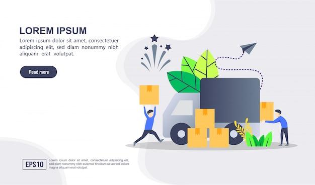 Concepto de ilustración de entrega con carácter
