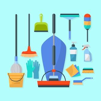 Concepto de ilustración de equipos de limpieza de superficies