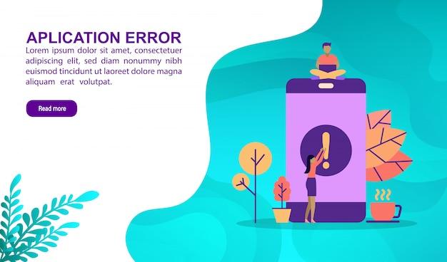 Concepto de ilustración de error de aplicación con carácter