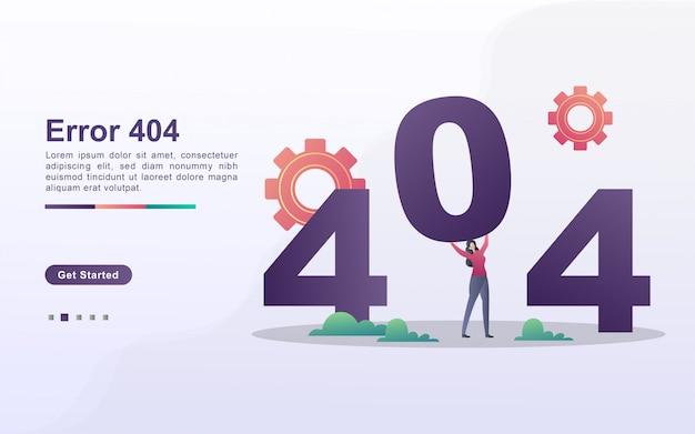 Concepto de ilustración de error de página con personas pequeñas. la gente está organizando números, diciendo que la página sea inaccesible.