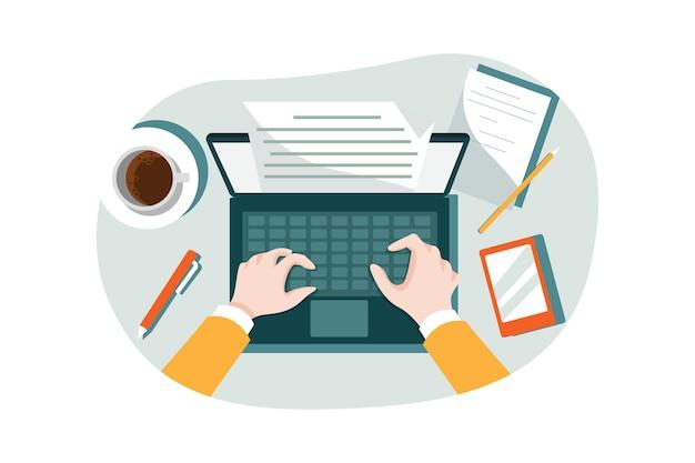 Concepto de ilustración de escritura de contenido