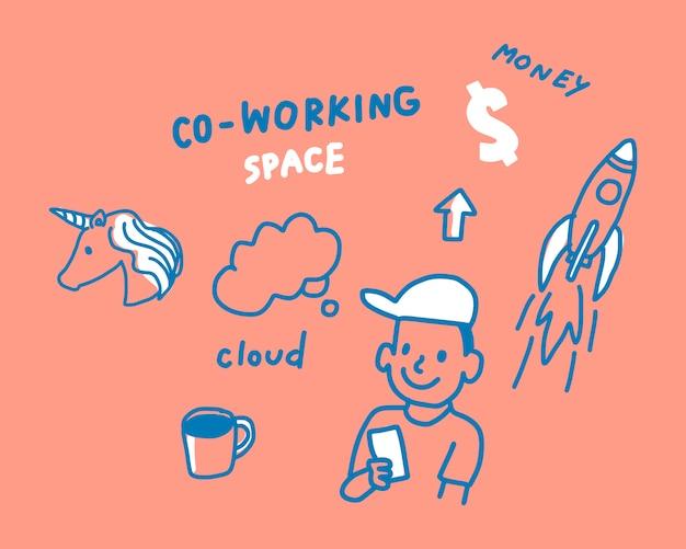Concepto de ilustración de espacio de coworking.