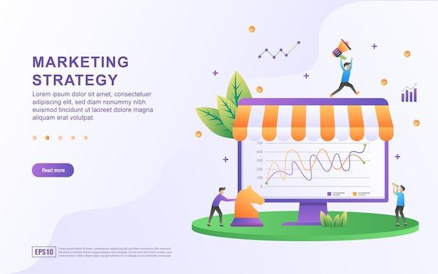 Concepto de ilustración de la estrategia de marketing con el gráfico en la pantalla y la persona que empuja la pieza de ajedrez.