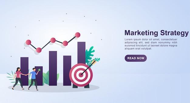 Concepto de ilustración de la estrategia de marketing con gráficos y flechas adjuntas al objetivo.