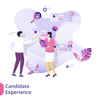 Concepto de ilustración de la experiencia del candidato de la página de destino