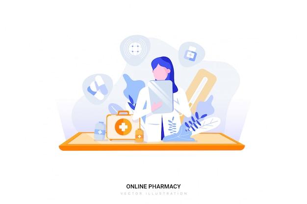 Concepto de ilustración de farmacia en línea