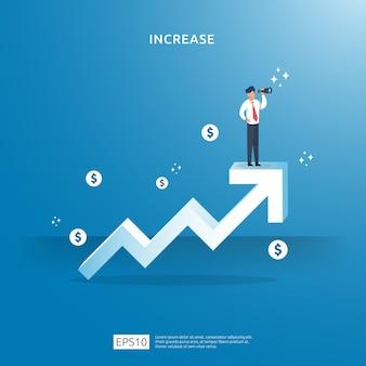 Concepto de ilustración de flecha hacia arriba de crecimiento para aumento de la tasa de salario de ingresos con carácter de personas.