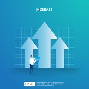 Concepto de ilustración de flecha hacia arriba de crecimiento. las ganancias comerciales aumentan o la tasa de salario de ingresos aumenta con el carácter de las personas. ingresos de margen de venta con símbolo de dólar. rendimiento financiero del retorno de la inversión roi